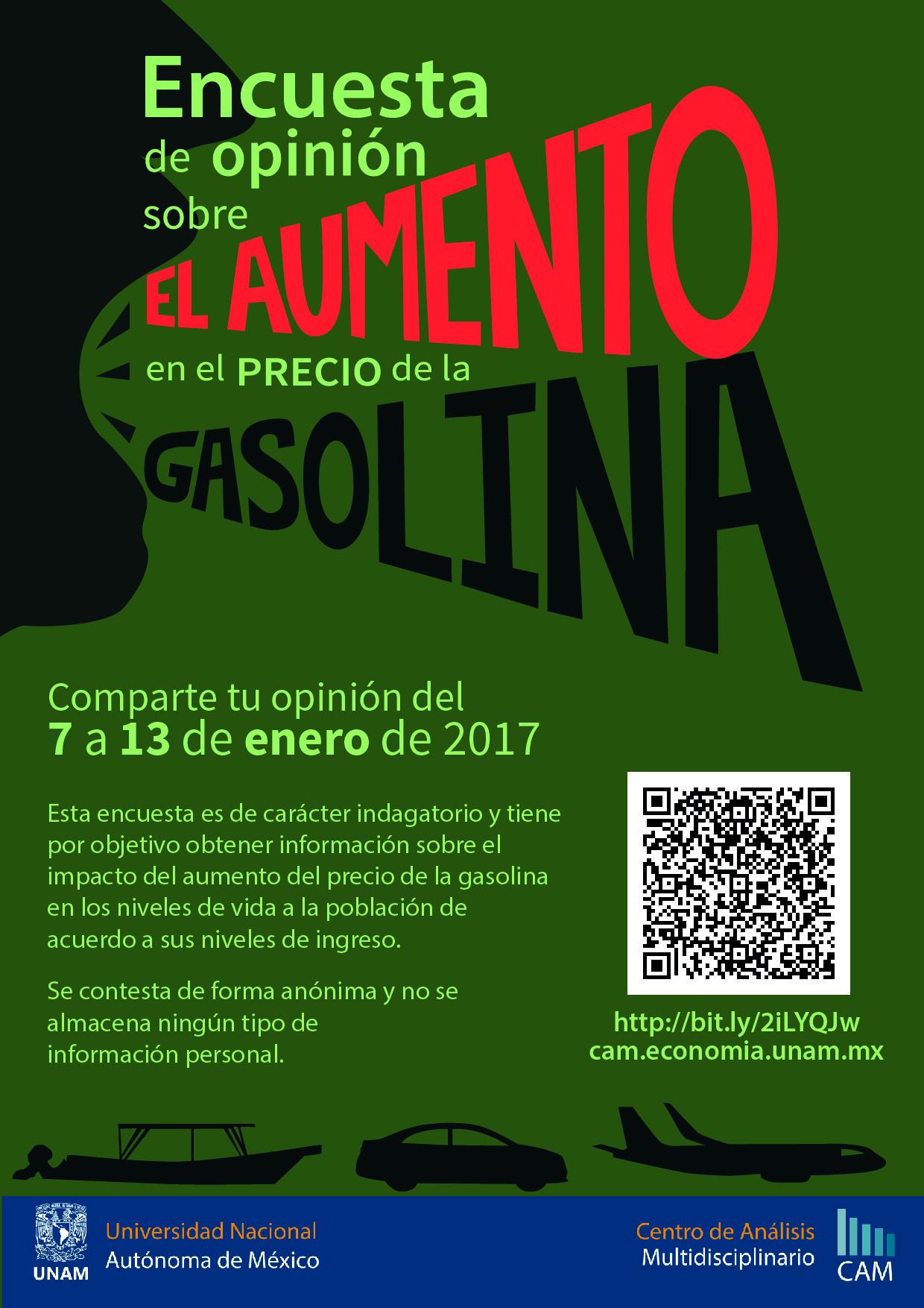 Encuesta de opinión sobre el aumento en el precio de la gasolina ...